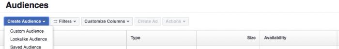 Facebook retargeting create audience