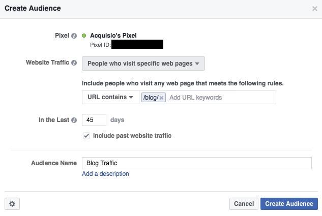 Facebook retargeting specific web page
