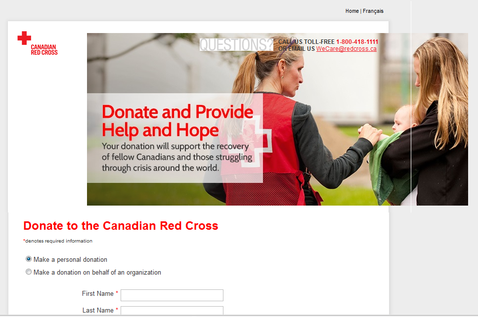 The Canadian Red Cross smartly offers its donation page in two languages, and has a clear title for its donation form. The picture's also a good start to telling a story, though more detail and specificity would make it even better.