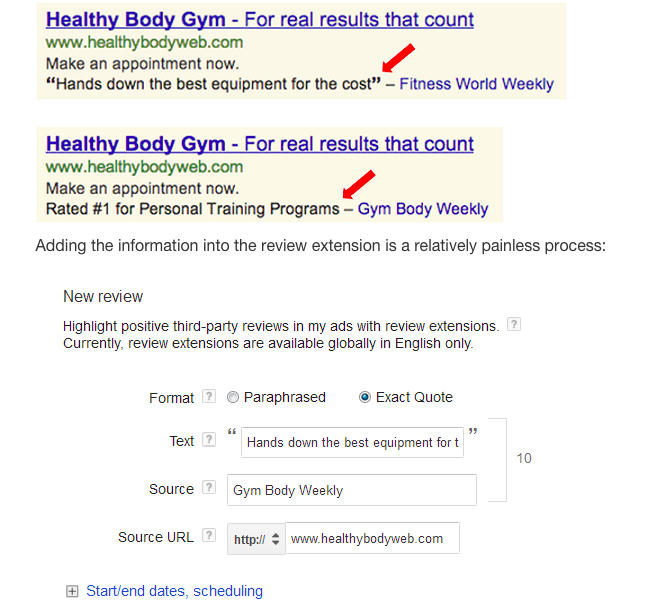 Improve adwords CTR with review extensions