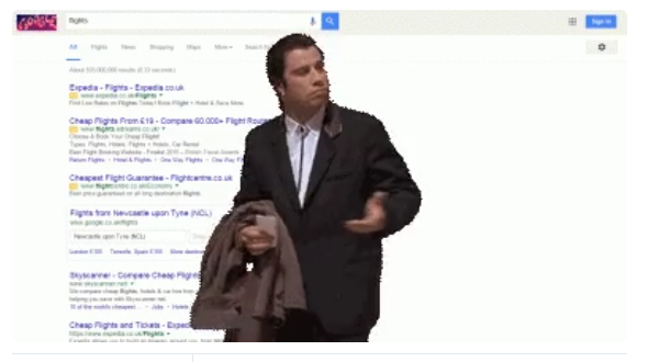 SERP with john travolta screen shot