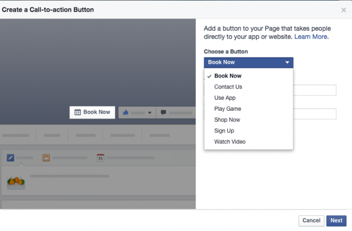 Facebook's call to action button options. Image source.