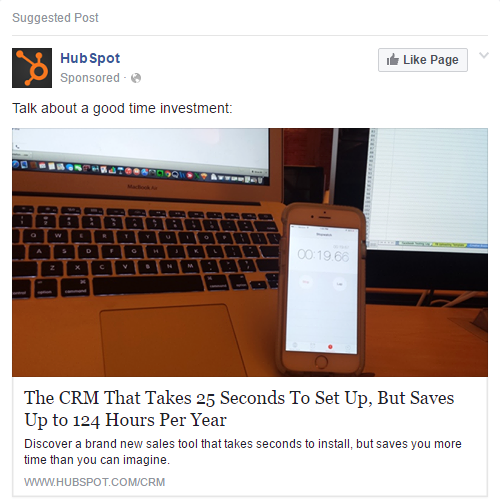 facebook ad numerical proof hubspot