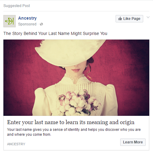 Writing Facebook Ads example ancestry