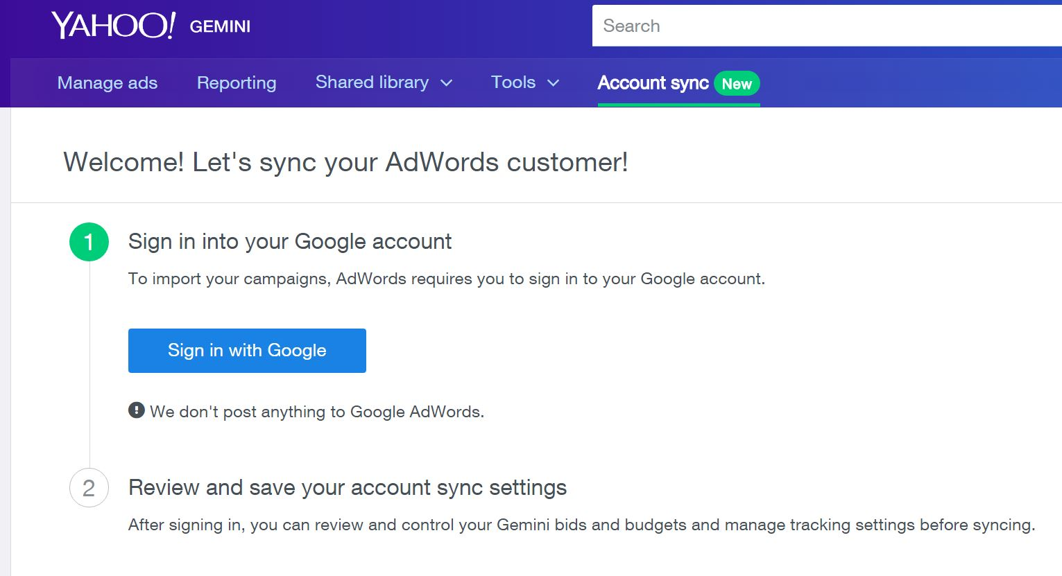 Gemini and Adwords Sync