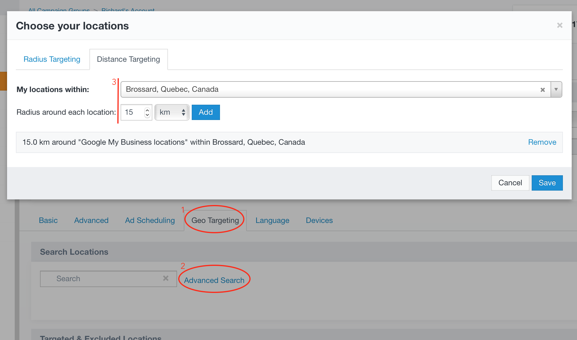 Applying Distance Targeting with Acquisio