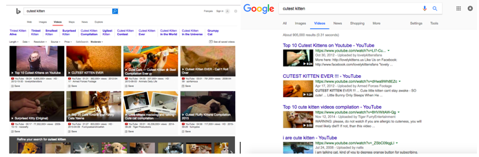 Screenshot of Bing vs Google Video Search Results