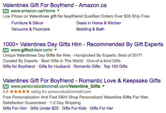 "Screenshot of Google search ads displaying for ""valentines gift for boyfriend"""