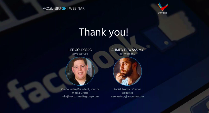 Thank you screenshot from Acquisio webinar