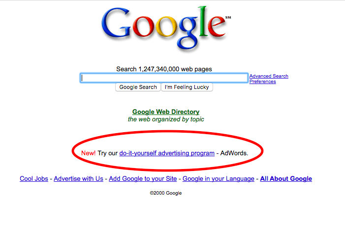 Screenshot of Google's First Version of AdWords in 2000