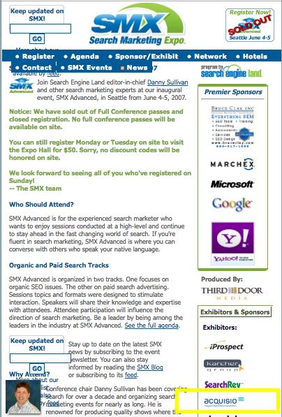 SMX original website 2007