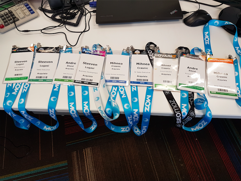 Acquisio SMX conference badges over the years