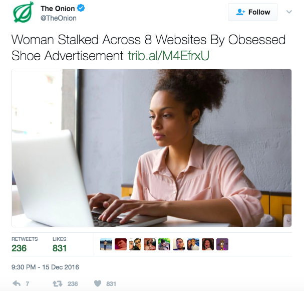 Retargeting satire by The Onion on Twitter