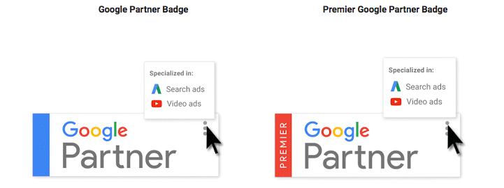 Screenshot of Google Partner badges