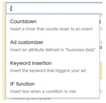 Screenshot of AdWords If Function from Google