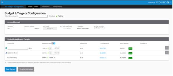 Screenshot of the Acquisio platform