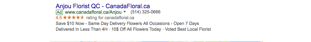 Screenshot of florist near me search results