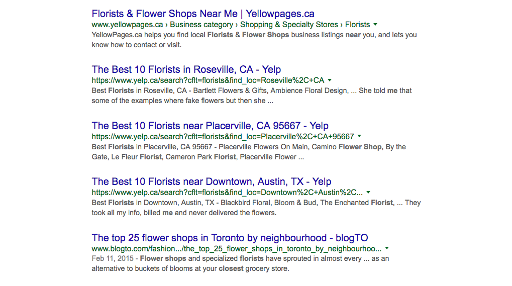 Screenshot of local search for florists near me