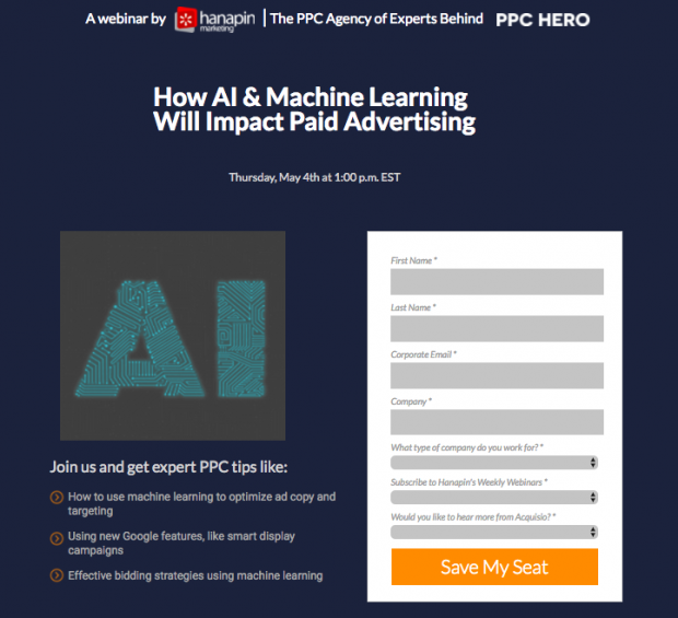Screenshot of Hanapin Marketing and Acquisio Webinar landing page