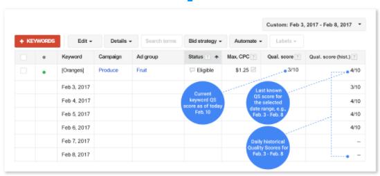Google historical quality score data sample screenshot
