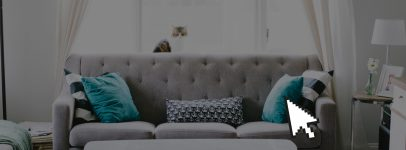 Modern couch with cursor icon overlay