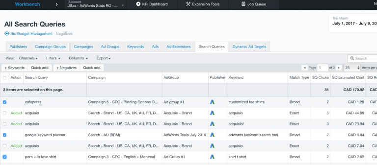 Search queries inside Acquisio platform