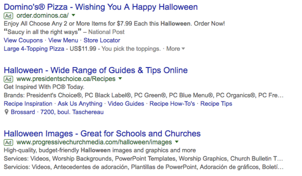 best ppc halloween campaigns organized by search volume
