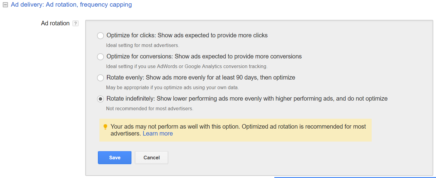 ad rotation settings in adwords