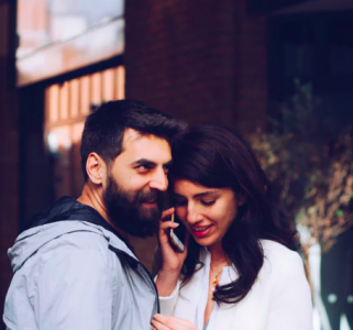 two people on phone