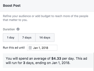 Screenshot of Facebook estimated spend for boosted post