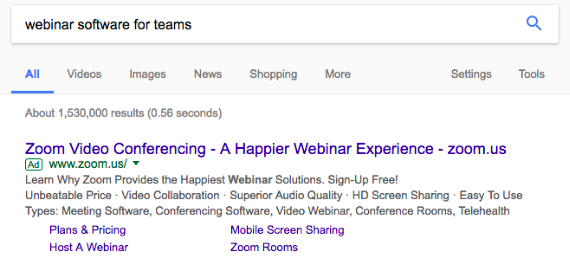google search of webinar software for teams