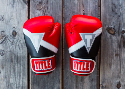 boxing gloves on wood