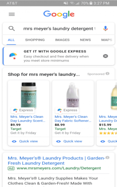 Screenshot of Google Shopping Actions Google Express