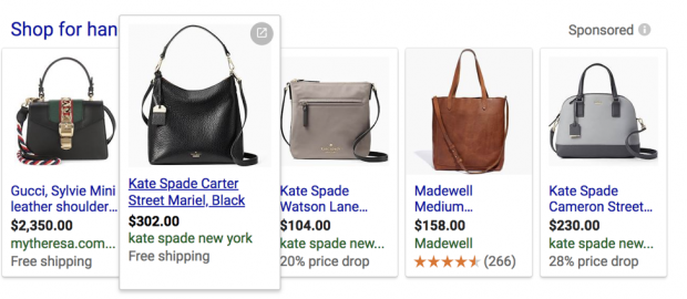 Screenshot of Google Shopping purses
