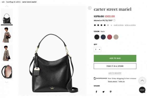 Screenshot of Kate Spade checkout page