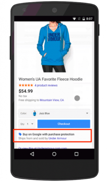 Screenshot of Purchase Protection from Google Shopping Actions