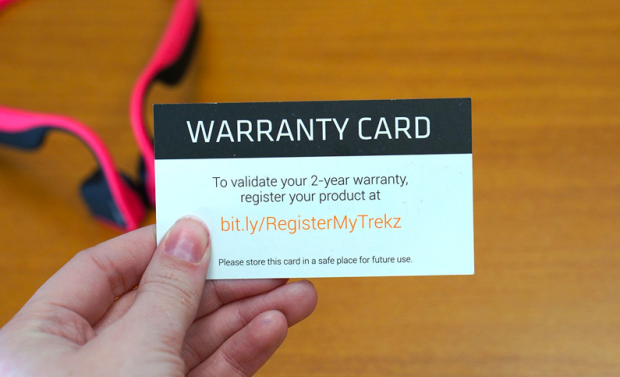 Screenshot of business offering warranty registration online upon product delivery