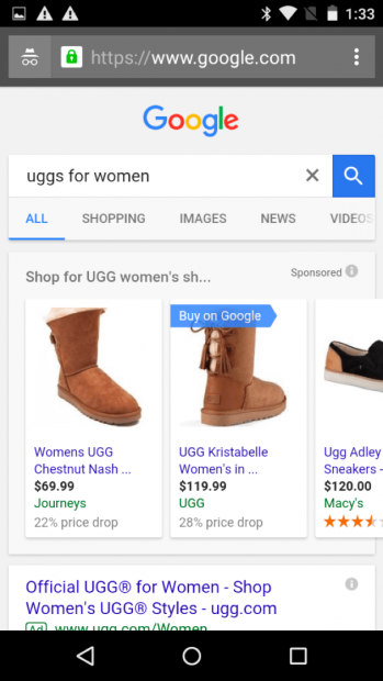 Screenshot of Uggs being sold on Purchases on Google