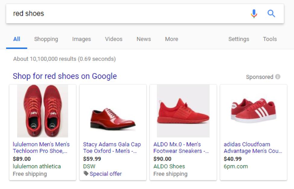 red shoes serp screenshot