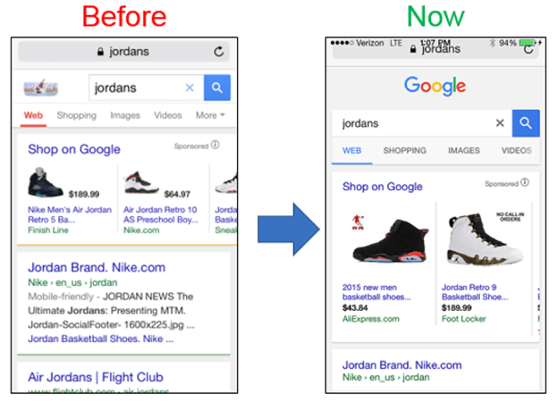mobile serp changes over time