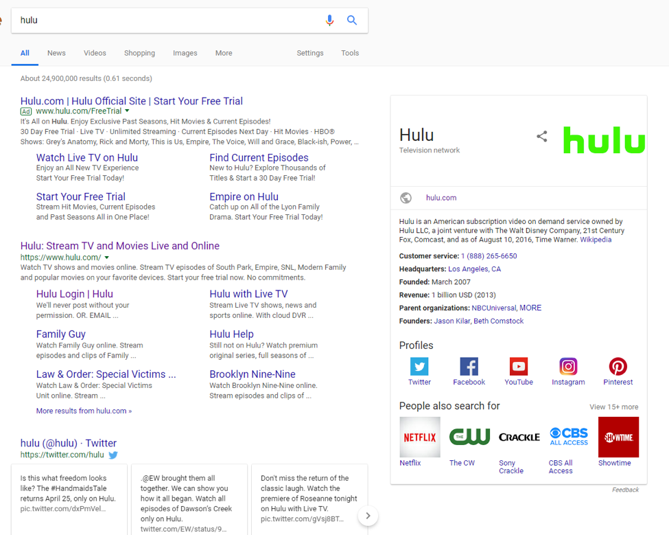 hulu serp results screenshot