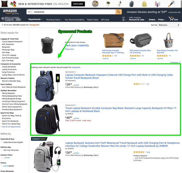 Screenshot of Amazon sponsored products