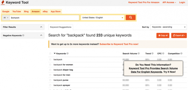 Keyword research tool for Amazon