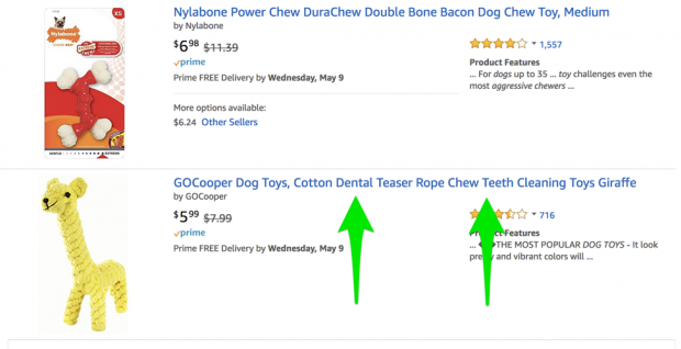 Examples of keywords in Amazon product results