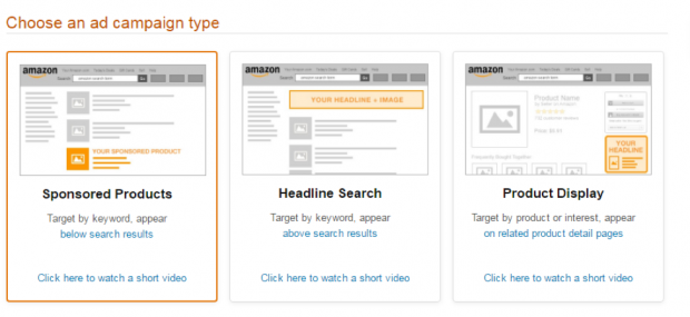 Choosing an Amazon ad campaign type inside Seller Central