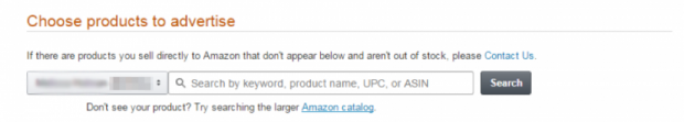 Choosing a product to advertise on Amazon inside Seller Central
