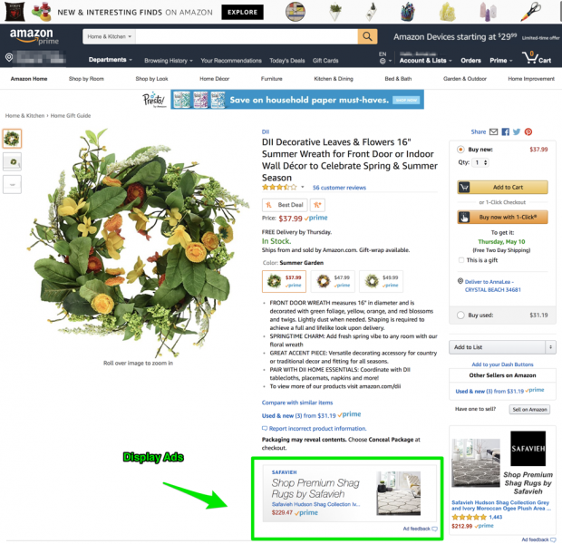 Product display ads on Amazon