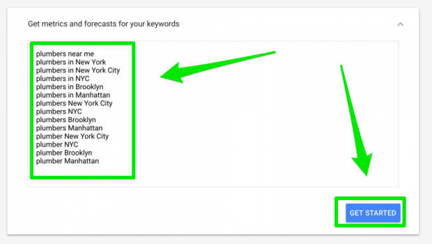 Screenshot of AdWords Keywords