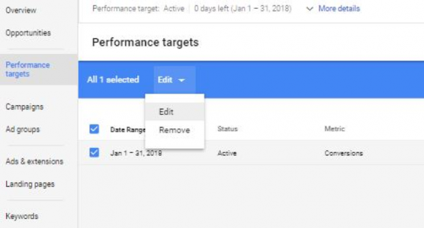 Edit performance targets in AdWords screenshot