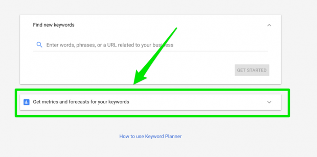 How to get forecasts from keyword planner in AdWords